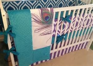 peacock crib bedding teal and purple peacock crib bedding made to order