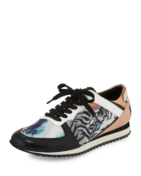 kenzo shoes lyst kenzo tiger print lace up sneaker in blue