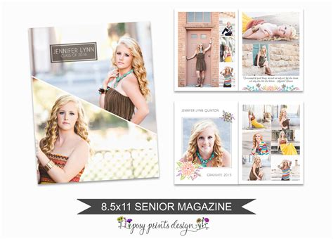 Senior Magazine Template 8 5x11 Graduate Book Senior Album Senior Magazine Template