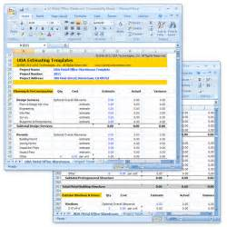 excel templates for construction estimating uda construction estimating templates light commercial