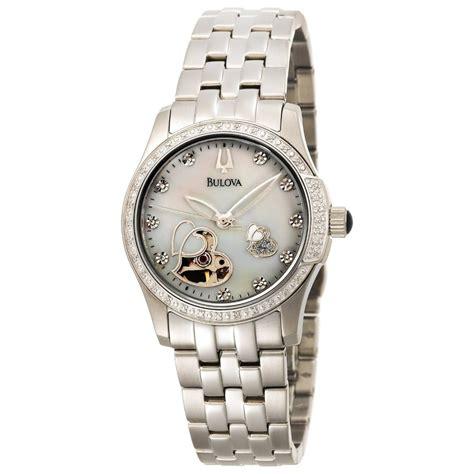 Buy Bulova Women's 44 Diamonds White MOP Skeleton Dial Stainless Steel Automatic 96R122   Bulova