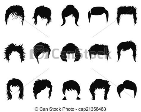 Clip Art Vector of men and women hair styling collecti