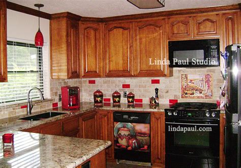 Red Kitchen Backsplash by Mexican Tile Murals Chili Pepper Kitchen Backsplash Mural