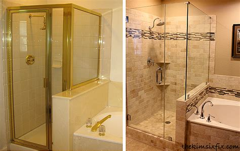 Before And After Shower by Master Bathroom Reveal 80s To Awesome The Six Fix