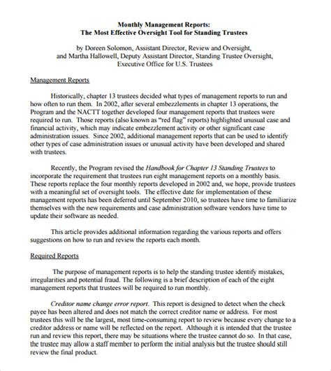 format of a management report 24 sample management reports pdf word pages