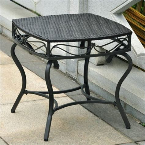 Ally Woven Patio Accent Table International Caravan Lisbon Wicker Side Black Antique