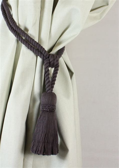 drapery tie back pair cotton tassel rope curtain tiebacks tie backs 12