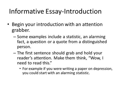 Informative Essay Introduction Exles by Informative Essay An Introduction Ppt