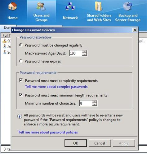 windows sbs console change default password policy in windows sbs 2011 resolve