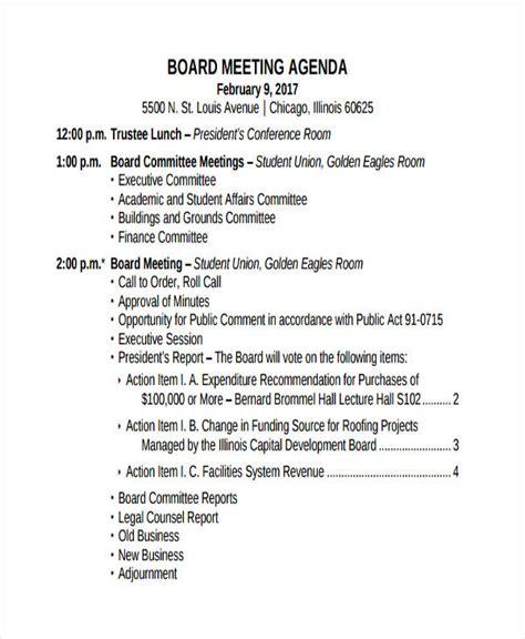 36 Agenda Exles In Pdf Board Meeting Protocol Template