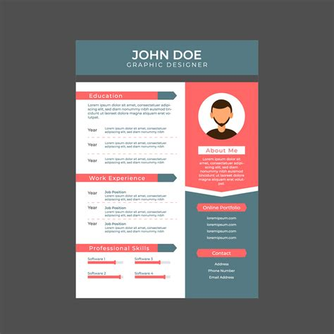 graphic designer resume a4 size free vector