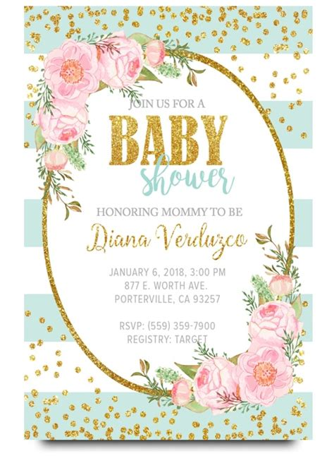 Free Baby Shower Invite by Bue Floral Baby Shower Invitation Baby Shower Invite