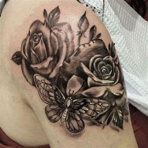 butterfly and roses tattoos 40 amazing black and gray ideas