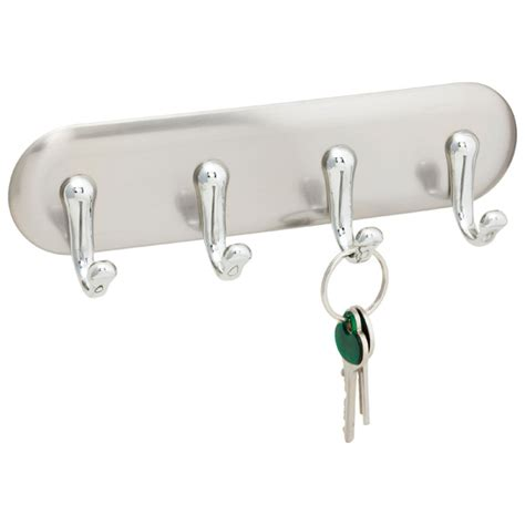 Key Rack by Stainless Steel York Adhesive Key Rack The Container Store