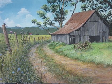country farm paintings with barn paintings of tobacco barns search barn and