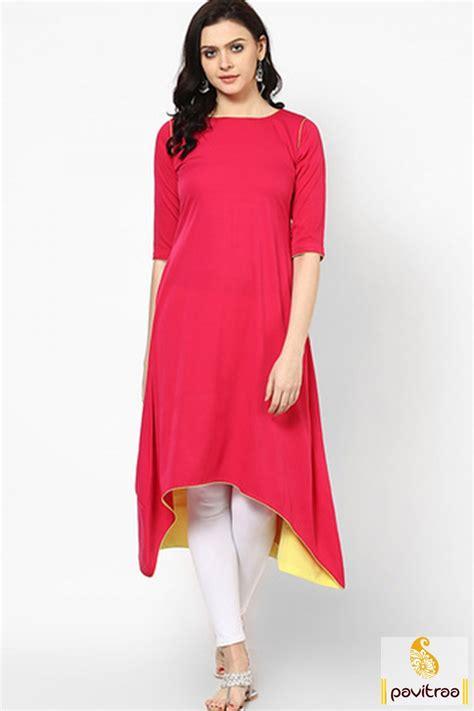 kurta top pattern get beautiful red color fish cut long anarkali kurti in