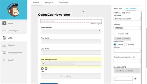 design form website how to configure mailchimp coffeecup software