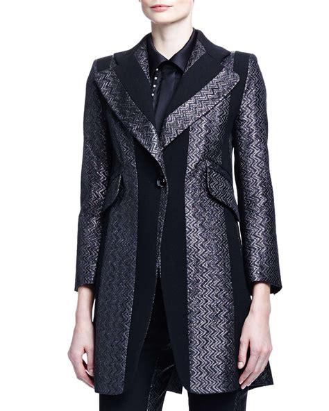 Brocade Jacket chlo 233 paneled zigzag brocade jacket in black lyst