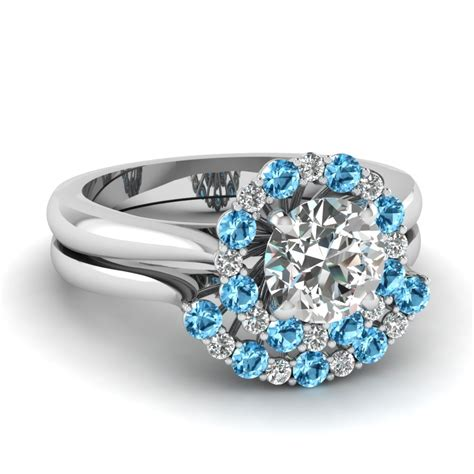 cathedral floating halo diamond wedding ring set  blue