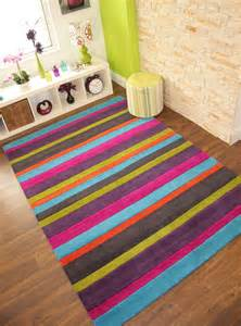 pink striped rug colourful pink orange blue green purple modern stripe