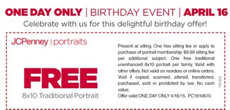 jcpenney portrait printable coupons no sitting fee hot jcpenney free traditional 8 215 10 portrait no sitting