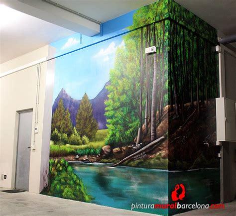 paisaje  mural bosque pintura mural barcelona mateo