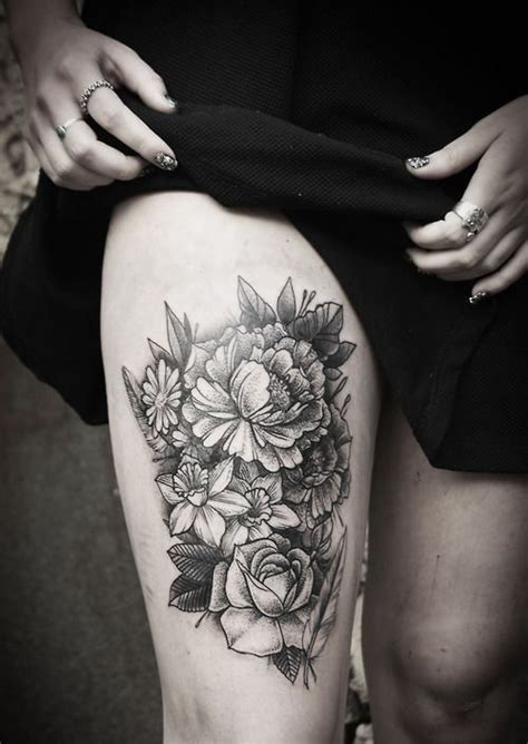 tattoo flower thigh grey rose flowers tattoo on girl right thigh