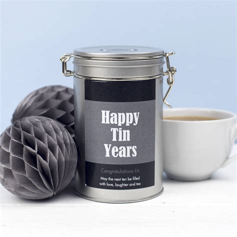 personalised 10th anniversary tea gift tin by novello