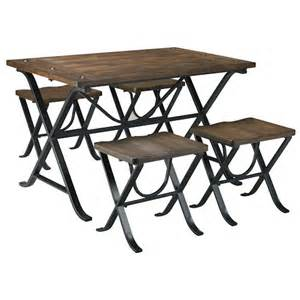 Picnic Table Style Dining Set Signature Design By Picnic Industrial Style Rectangular Dining Room Table Set Rotmans