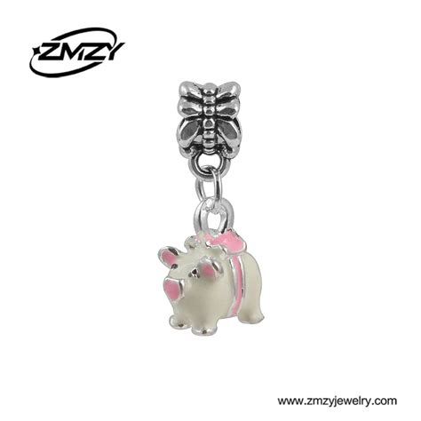 Silver Charm With Pink Enamel P 1179 new fashion enamel pink pig pendants bead charms silver plated fit pandora charm bracelet