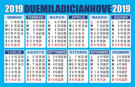 Calendario 2019 Italiano Calendario 2019 Annuale