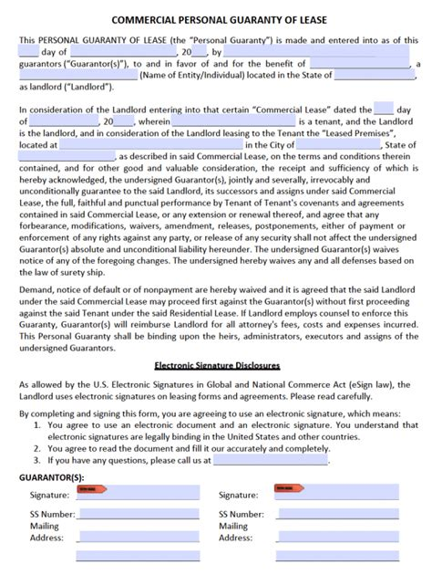 personal guarantee form template free commercial rental lease agreement templates pdf word