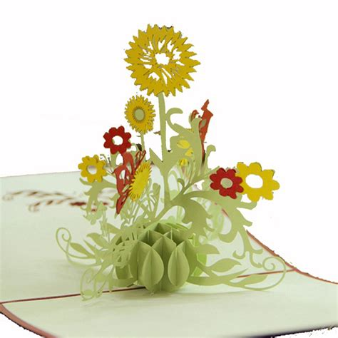 Handmade 3d Flowers - 3d pop up birthday wedding invitation greeting cards