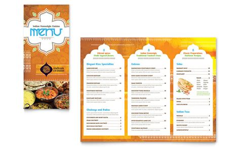 indian restaurant menu card templates free indian restaurant take out brochure template word