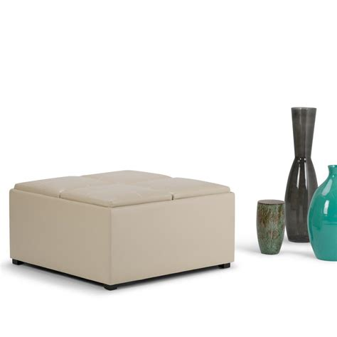 Simpli Home Avalon Storage Ottoman Simpli Home Avalon Satin Storage Ottoman Ay F 07 Cr The Home Depot