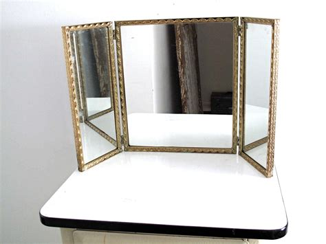 tri fold vanity mirrors bathroom in imposing darling vintage triptych mirror gold framed trifold by snapshotvintage