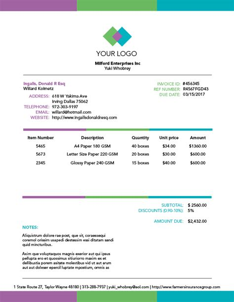 blank invoice templates for creative professionals bric