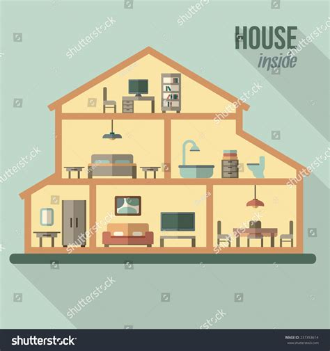 haircut house house in cut detailed modern house interior rooms with furniture flat style vector