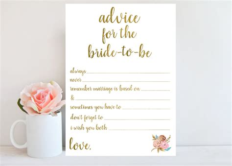 free bridal shower advice card template advice for to be bridal shower advice cards printable