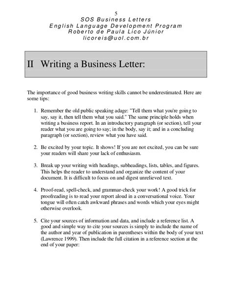 Business Letter Sle Cooperation Skills Writing Sos How To Improve Your Business Letter