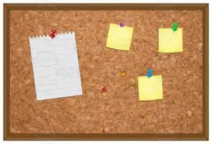 brown cork bulletin board with papers attached to it with