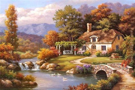 paintings of cottages sung cottage painting anysize 50 cottage