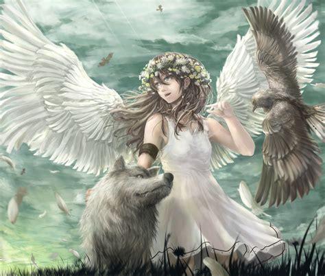 libro alas negras takakyo животные перья каштановые волосы оригинал небо птица платье цветы волк аниме