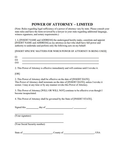 temporary power of attorney template limited power of attorney form create fill
