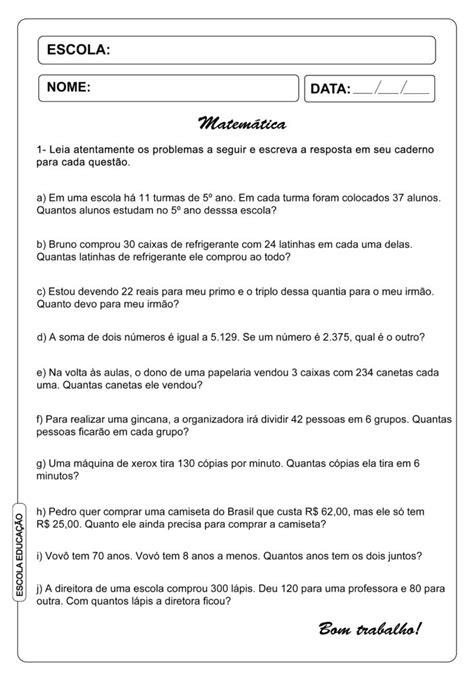 Problemas de matemática - atividades para imprimir