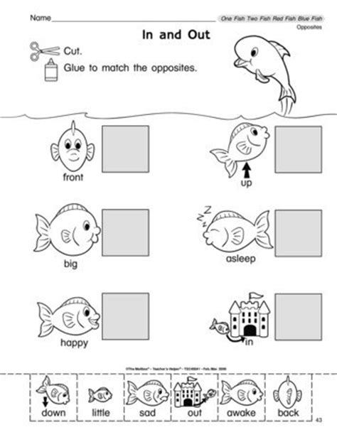 One Fish Two Fish / Dr. Seuss Day Antonym Worksheet