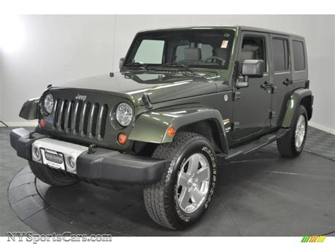 jeep dark green 2009 jeep wrangler unlimited sahara 4x4 in jeep green