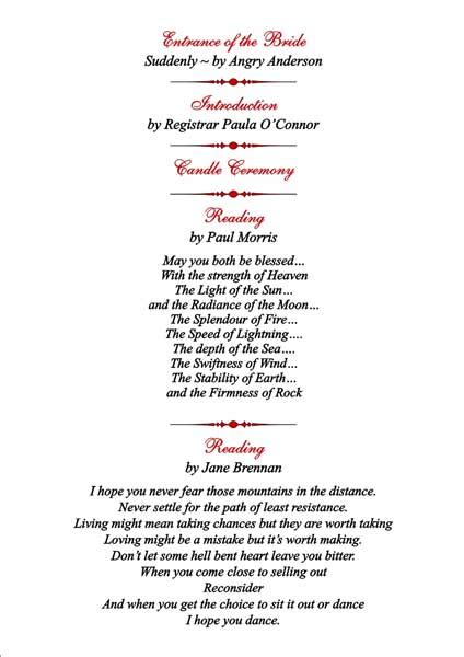 wedding blessing order of service template brambles wedding stationery order of service pages