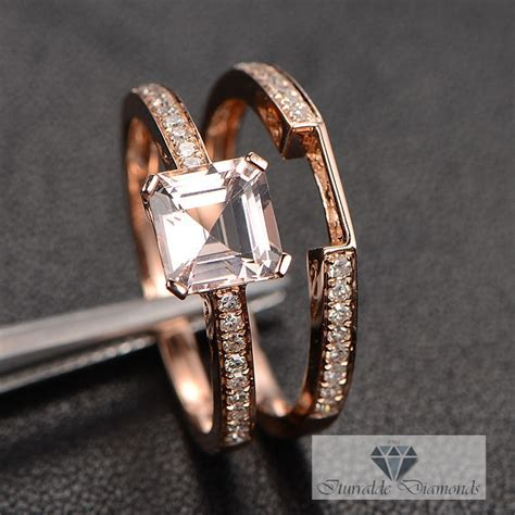 asscher cut morganite engagement ring with matching band