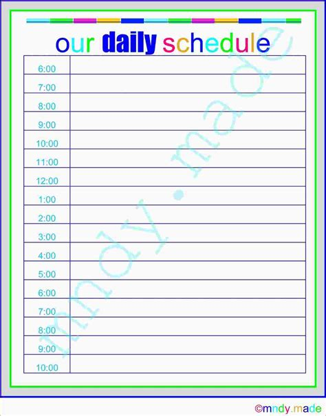 printable daily schedule sheets 4 free printable daily schedule ganttchart template